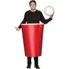 """The Beer Pong Costume looks just like a large red plastic cup and a giant ping pong ball. The cup, made of soft polyester fabric is held up by suspenders. Look out your friends might challenge you to a big game of """"Drink One"""", """"Sink One"""". This is a fun costume to wear."""
