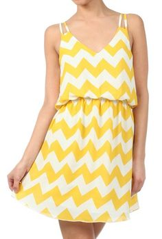 Summer Recreation Double Strap Chevron Print Dress in Sunshine Yellow Cute Dresses, Cute Outfits, Summer Dresses, Chevron Print Dresses, Nautical Dress, Sweet Dress, V Neck Dress, Yellow Dress, Fashion Pictures
