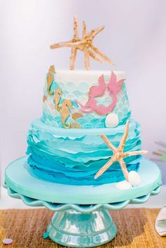 The prettiest Mermaid birthday cake you'll see today. You're not going to want to miss this party! See more party ideas at CatchMyParty.com