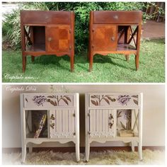 Using fabric, cardboard and gems, I definitely changed the look of these thrifted nightstands! Decoupage Furniture, Chalk Paint Furniture, Hand Painted Furniture, Distressed Furniture, Repurposed Furniture, Furniture Projects, Furniture Makeover, Cool Furniture, Furniture Design