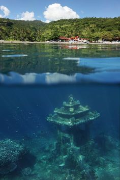 Bali Temples Guide – 15 Best Temples in Bali Indonesia Underwater Temple in Bali Amed Village Bali Travel Guide, Asia Travel, Places To Travel, Travel Destinations, Places To Visit, Bali Photos, Water Temple, Voyage Bali, Snorkeling