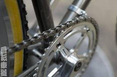 This being humpday, here is your weekly dose of bike pron. This is a macro shot of the chainring on a restored English grass racer. IRD 48t x 1/8″.
