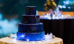 constellation cake with different star constellations morton arboretum wedding Galaxy Wedding, Starry Night Wedding, Cupcakes, Cupcake Cakes, Beautiful Cakes, Amazing Cakes, Morton Arboretum Wedding, Gateau Baby Shower, Galaxy Cake