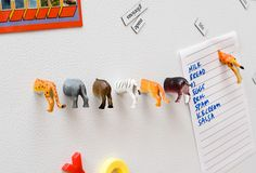 Magnets made from little plastic animals cut in half - hilarious!
