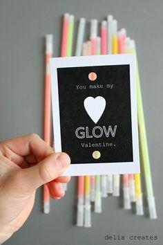 Cute class #valentines: Glow sticks #valentinesforkids #diy