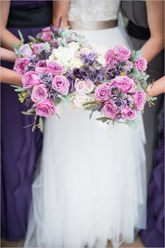 Purple bridal party bouquets. Winter wedding in the south.  Captured By: Charity Maurer Photography.