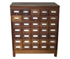 Vintage index card cabinet. I would love one of these for storing odds and ends!