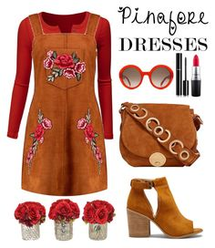 """""""60-Second Style:  Pinafores"""" by pixidreams ❤ liked on Polyvore featuring Doublju, Boohoo, Sole Society, Foley + Corinna, The French Bee, Alexander McQueen, MAC Cosmetics, Chanel, pinafores and 60secondstyle"""