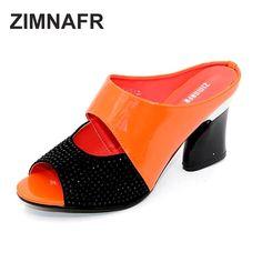ZIMNAFR brand 2016 hot sale women genuine leather slippers rhinestone thick high-heeled sandals open toe plus szie 34-42  #cool #model #instafashion #shopping #ootd #instastyle #fashionista #cute #stylish #beauty