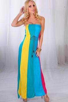 TEAL MULTI COLOR BLOCK STRAPLESS MAXI DRESS $21.99
