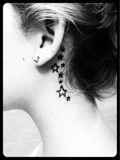 Stars behind the ear #Tattoos_4Life #Tattoos_4_Women #White_Tattoo
