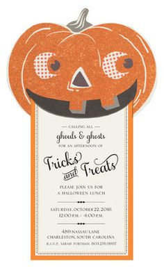 Glittered Jack O'Lantern Diecut Invitations