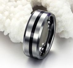 New Fashion Black Tungsten Carbide Ring Mens Jewelry Wedding Band Mens Ring  8 mm