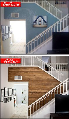 Before & After: DIY paneled wood wall. Time: 4 days, Cost: 300 USD