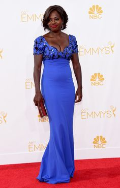 Viola Davis wears a bright blue gown with sequin appliqué Celebrity Outfits, Celebrity Style, Viola Davis, Black Actresses, Blue Gown, Ebony Beauty, Celebs, Celebrities, Blue Dresses