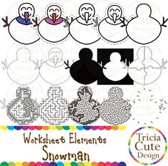 Glitter Christmas Snowman Worksheet Elements Clipart! Contained in the zip file are 15 PNG files with transparent background , 300dpi and high resolution.This set includes 2 colored images and 13 black and white image.They are great for creating worksheets for tracing, cutting, drawing, counting, etc.
