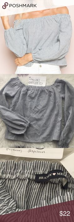 Brandy Melville theia top Theia stripe off shoulder top. Nwt never worn. Best for a size xs/s. A few loose strings that aren't really a problem. 4th pic I try to point at a very faint and small green dot mark. White and navy blue color, although to some people this might look black or grey lol. Please view last pic for a screenshot of a more detailed description! :) Brandy Melville Tops