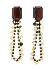 Iosselliani Brass Earrings with Black Strass Tiger's Eye
