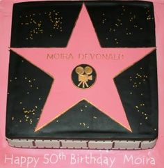 "Hollywood theme cake... would be cute for a retirement party. A ""star"" on the walk of fame"