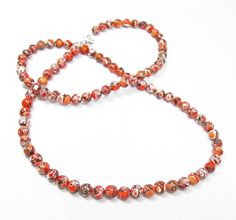 Orange Black and White Agate Necklace by kiddercreations on Etsy, $28.00
