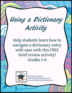 "FREE LANGUAGE ARTS LESSON - ""Using a Dictionary Activity"" - Go to The Best of Teacher Entrepreneurs for this and hundreds of free lessons.  http://thebestofteacherentrepreneurs.blogspot.com/2011/11/free-language-arts-lesson-using.html"