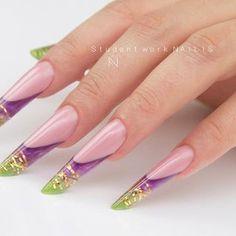 Pink Nail Art, Pink Nails, Edge Nails, Foto Poster, French Nail Art, Nail Bar, Almond Nails, Pretty Nails, Loki