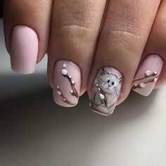 Manicure for April ideas, news and the lunar calendar Cat Nails, Pink Nails, Stylish Nails, Trendy Nails, Acrylic Nail Designs, Nail Art Designs, Nailart, Nail Swag, Shellac Nails