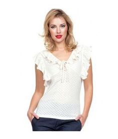90950ab6724627 Cream, Off White, Ivory Ruffle Stretch Knit Maria Top by Voodoo Vixen is a