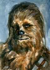 Chewbacca Star Wars ACEO Sketch Card by Jeff Ward #chewbacca #starwars #sketchcard #aceo #painting
