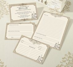 """""""Let's Shower the Bride to Be with Your Favorite Recipe"""" is printed on these tan recipe cards. Distribute the recipe cards and instruction cards with the shower invitations so guests bring their favor"""