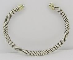 David Yurman Sterling Silver 14k Gold 5mm Pearl Cable Cuff Bracelet #DavidYurman #Cuff