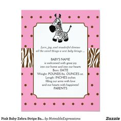 Customizable Invitation made by Zazzle Invitations. Baby Girl Birth Announcement, Wonderful Dream, Baby Zebra, Create Your Own Invitations, Zazzle Invitations, Baby Names, New Baby Products, Joy, Cards
