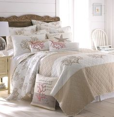 Coral Quilt Set - King, our bed Beach Bedding, Coastal Bedding, Coastal Bedrooms, Luxury Bedding, Bedroom Beach, Coastal Living, Nautical Bedding, Coastal Rugs, Modern Coastal
