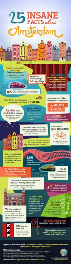 Travel and Trip infographic 25 Insane Facts About Amsterdam PintArena Swimwear Infographic Description 25 Insane Facts European Vacation, European Travel, Travel Guides, Travel Tips, Places To Travel, Travel Destinations, Amsterdam Travel, Visit Amsterdam, Amsterdam Trips