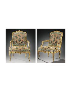 A FINE PAIR OF CARVED giltwood ARMCHAIRS, LOUIS XV, STAMPED C.SENE