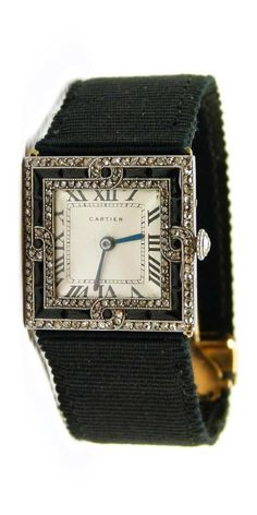Art Deco diamond and onyx square shaped lady's wristwatch by Cartier, Paris…