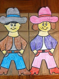Cowboy Cowgirl Paper Bag Puppet from Melissas Corner on TeachersNotebook.com -  (6 pages)  - Great for Role playing!!!