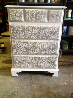 Upcycle furniture, thrift store dresser, lace overlay, refurbished, the painted furniture company.