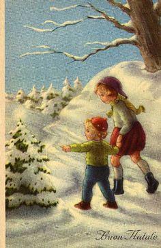 Gelukkig nieuwjaar: Children walking down a snowy lane looking at tree Old Time Christmas, Old Fashioned Christmas, Christmas Scenes, Christmas Past, Vintage Christmas Cards, Retro Christmas, Christmas Pictures, Xmas Cards, Christmas Greetings