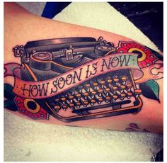 Old school typewriter tattoo, artist unknown Love Tattoos, Body Art Tattoos, Sweet Tattoos, Amazing Tattoos, Tatoos, Piercings, Typewriter Tattoo, Oldschool Tattoos, How Soon Is Now