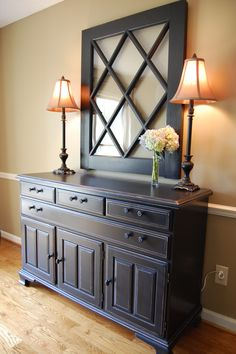 Dining Room Buffet With The Top Half Of An Old Door Hanging Above