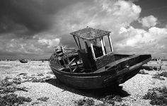 One of the abandoned boats on the beach - Dungeness