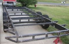 Pics of my car hauler trailer built with a Millermatic 175 - Miller Welding Discussion Forums Trailer Dolly, Work Trailer, Trailer Plans, Tiny House Trailer, Trailer Build, Car Hauler Trailer, Dump Trailers, Cargo Trailers, Utility Trailer