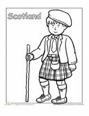 A coloring sheet for 1st graders about clothing and people from around the world. This one is of a Scottish boy in a kilt.