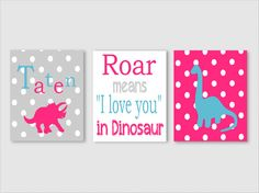 Nursery Art - Kids Wall Art - Girl Dinosaur - Roar means i love you - Name Print - Chevron Dinosaur - Custom Name - Dinosaur