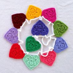 .Granny Square Hearts Garland. These cute hearts work up quickly.