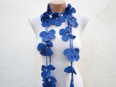 Hand crochet Lariat Scarf  Blue  Flower Lariat Scarf Long by nurlu, $20.00