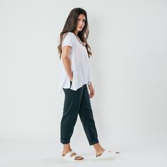 Bellerose Clothing   Bellerose Peye Lead Grey Chino Trousers with a Free  People white tee   6f4d2f0b2b42
