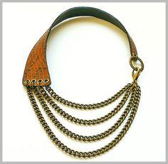 "Maxi Collar de Piel ""Animal Print"" en tonos Tierra. Maxi Leather Necklace ""Animal Print"" Land Color.  www.lesespirals.com"