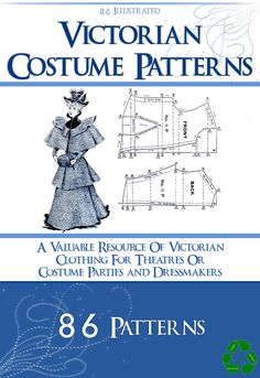 86 VICTORIAN COSTUME PATTERNS Design Your Own by HowToBooks